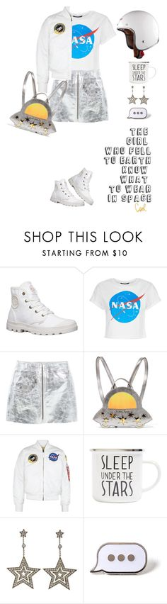 """What to wear in space"" by lera-chyzh ❤ liked on Polyvore featuring MANGO, Charlotte Olympia, Alpha Industries, Topshop, Tiffany & Co., PINTRILL, outfit, nasa and space"