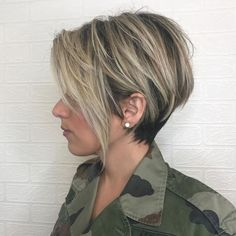 Side Parted Choppy Tapered Pixie