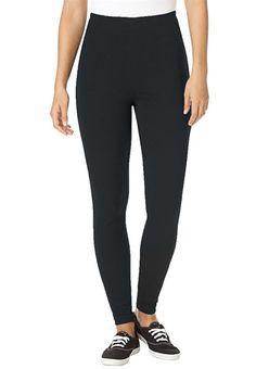 Women's Plus Size Tall Leggings In Stretch Knit Black, 1X at Amazon Women's Clothing store: Leggings Pants