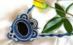 Colier soutache piatra lunii Soutache Jewelry, Drop Earrings, Drop Earring