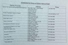 DFW Diagnostic Evaluations for Autism