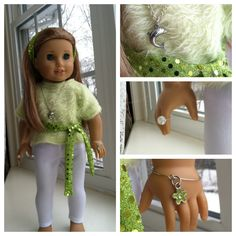 Outfit and jewelry I made for my daughter's American Girl Doll McKenna.  Sweater is recycled sweater, ring is a bead with elastic string, bracelet is a wine glass ring with a charm.
