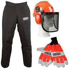A full set of Chainsaw safety clothing from Oregon, comprising safety legging that provide front of leg protection, size large chainsaw gloves and a Yukon safety helmet with visor and ear defenders.