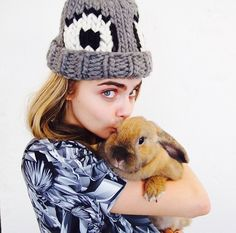 One of our favourite snaps from backstage at Giles Deacon show last night. Cara with Clara in our EEK hat! Katie Grand's rabbit is too cute. Photo by Katie Grand.  ****GET CARA'S HAT MADE BY THE GANG HERE**** ****KNIT CARA'S WATG HAT HERE****