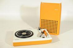 1970s MINT VINTAGE ORANGE PHILIPS 113 PORTABLE DESIGN RECORD PLAYER TURNTABLE | eBay