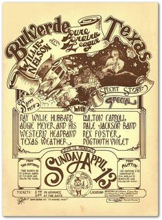 April 13, 1975 -- Bulverde, Texas:  WILLIE NELSON, PURE PRAIRIE LEAGUE, RAY WYLIE HUBBARD,  AUGIE MEYER AND HIS WESTERN HEADBAND, TEXAS WEATHER, SAMMI SMITH, MILTON CARROLL, DALE JACKSON BAND, REX FOSTER,  DOGTOOTH VIOLET.  I was there, just a few miles from Mom's house.  Pure Prairie League (with Craig Fuller) killed, and Willie was fantastic as always.