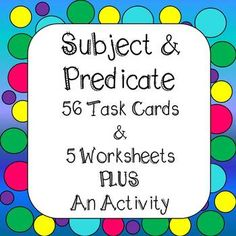 Subject and Predicate Task Cards - Worksheets - Activity - Real Time - Diet, Exercise, Fitness, Finance You for Healthy articles ideas Grammar Activities, Comprehension Activities, Science Resources, Reading Strategies, First Year Teachers, Teacher Pay Teachers, Subject And Predicate, Teacher Created Resources, 4th Grade Classroom