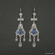 UNIQUE SAPPHIRE CZ FILIGREE STYLE 925 STERLING SILVER GREEK HANDMADE EARRINGS #IreneGreekJewelry #DropDangle