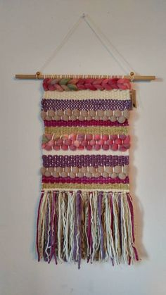 Hand woven wall hanging tapestry/Weaving/ Olive green, neutral and purple tones Tapestry Weaving, Tapestry Wall Hanging, Wall Hangings, Weaving Loom Diy, Hand Weaving, Yarn Wall Art, Art Yarn, Roving Wool, Weaving Wall Hanging