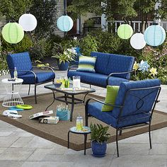 Bailey 4 Piece Seating Set Blue Limited Availability Small Patio Furniture