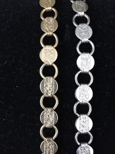 """Vintage 2 Bracelets Sarah Coventry Signed Embossed Circles Silver Gold Tone 7"""" #SarahCoventry #Chain"""