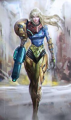 Anime picture 				502x850 with  		metroid 		samus aran 		longai 		long hair 		single 		tall image 		looking at viewer 		blonde hair 		fringe 		aqua eyes 		realistic 		scar 		walking 		serious 		floating hair 		torn 		damage 		girl 		arm cannon 		power armor