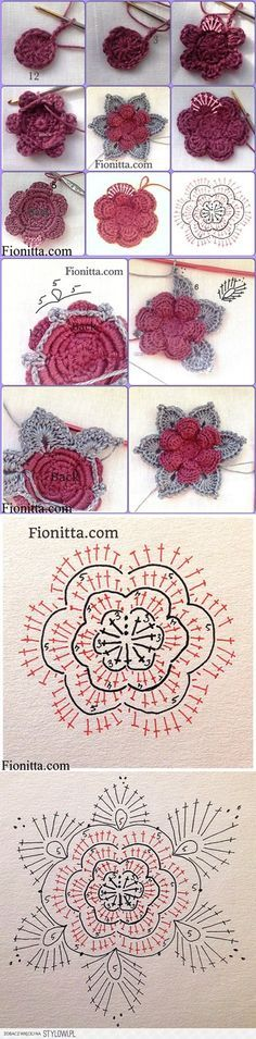 crochet tutorial These Crochet Flowers are pretty as a picture and perfect for adding to hats, brooches, hair clips, bags and so much more! Crochet Diagram, Crochet Chart, Crochet Motif, Crochet Stitches, Crochet Doilies, Crochet Diy, Love Crochet, Tutorial Crochet, Irish Crochet