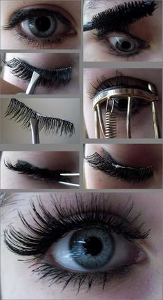 The easy way to apply fake lashes. You'll regret not pinning this. The only thing is some instructions on how to apply fake eyelashes tell u to trim them from the inner corner and some from the out. So that part I guess it depends on the lashes. Makeup Fx, Love Makeup, Skin Makeup, Makeup Tips, Eyebrow Makeup, Makeup Ideas, All Things Beauty, Beauty Make Up, Hair Beauty