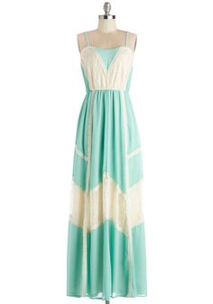 Give It a Glow Dress - Woven, Long, Mint, Tan / Cream, Casual, Festival, Maxi, Summer, Better, Sweetheart, Solid, Pastel, Spaghetti Straps, Lace