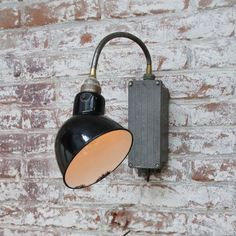 Industrial Ceiling Lights, Industrial Metal, Vintage Industrial, Wall Boxes, Black Enamel, Metal Walls, Light Bulb, Sconces, Arm