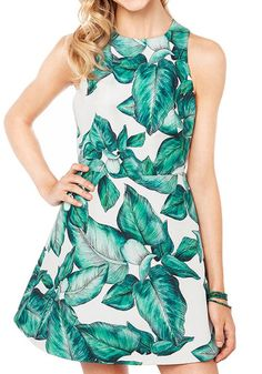 Green Floral Sleeveless Wrap Mini Dress