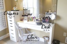 Makeup Vanity Set Up – Vanity Decor Vanity Table Organization, Diy Makeup Vanity Table, Bedroom Makeup Vanity, Bedroom Vanity Set, Ikea Vanity, Vanity Decor, Makeup Desk, Table Storage, Makeup Storage