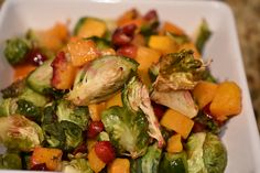 Roasted Brussel Sprouts, Cranberries and Butternut Squash
