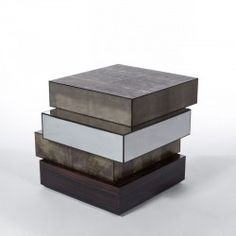 SHOVE TABAC pillar layers tabac stingray, ebony, stainless steel and kaki parchment. #Cravt #DKhome #Craftsmanship #Living #Pillars #Leather #Luxuryfurniture