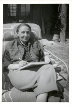 Georgia O'Keeffe Writing Daily Letter to Alfred Stieglitz, Ghost Ranch House Patio by Maria Chabot, 1944.