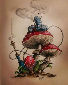 Alice in wonderland - mushroom art illustration Alice Tattoo, Alice In Wonderland Mushroom, Wonderland Alice, Caterpillar Alice In Wonderland, Wonderland Party, Alice In Wonderland Drawings, Alice In Wonderland Tattoo Sleeve, Alice Madness, Art Watercolor