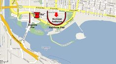 The old Pike, Rainbow Pier and Magnoia Pier location overlayed on a 2009 map of Long Beach, California