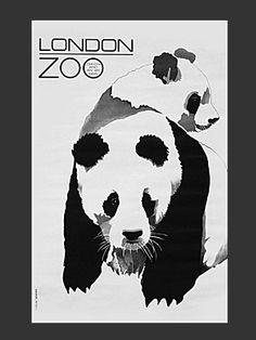 London Zoo, 1968 - original vintage poster by Roslav Szaybo featuring the zoo's celebrity giant pandas, Chi Chi and An An, London Poster, Railway Posters, Animal Posters, Vintage London, Minimalist Poster, Vintage Travel Posters, Panda Bear, Retro, Wonderful Images
