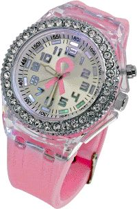 Northern Lights Pink Ribbon Silicone Watch at The Breast Cancer Site....I must have this watch...this is my top pick...love this