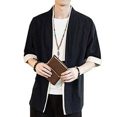 Hommes Kimono Manches 3//4 Impression L/âche D/écontract/é Veste De Cardigan
