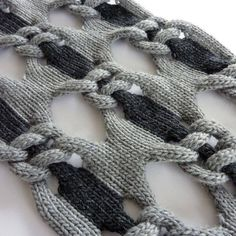Knitting Patterns Chunky Knitted Textiles Design – knot net shawl, structural knitting with two tone linking pattern // Cari … Knitting Stiches, Lace Knitting, Crochet Stitches, Knit Crochet, Chunky Yarn, Knitted Shawls, Knitting Projects, Knitting Patterns, Knitting Ideas