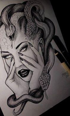 Medusa Zeichnung Illustration Tattoo Idee # jelenalazictattoo - List of the most beautiful tattoo models Dark Art Drawings, Pencil Art Drawings, Art Drawings Sketches, Tattoo Sketches, Tattoo Drawings, S Tattoo, Tattoo Life, Body Art Tattoos, Small Tattoos