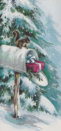Vintage Hallmark Christmas Card Squirrel
