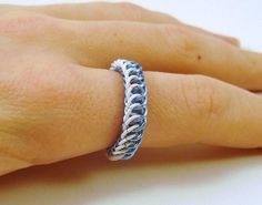 Ice Blue and White Enameled Copper Ring! #chainmaille #jewelry #etsy #krystalringkreations