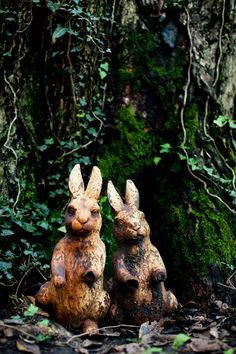 Rabbits / love this vintage statues from Olde Good Things. photographed by Amy A. via Design Sponge.