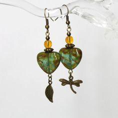 """Boucles d'oreilles """"quand l'étang s'endort..."""" - verre de bohême et métal bronze -"""