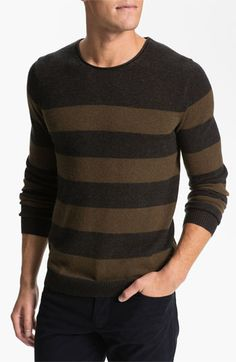 Never be afraid of horizontal strips, especially if you are wearing it with a Down Vest - Vince Stripe Mélange Knit Sweater available at #Nordstrom