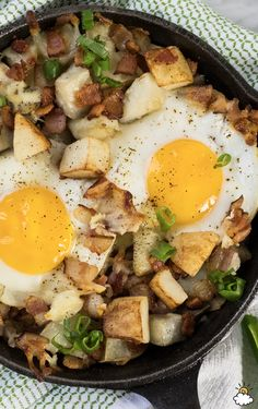 Everything you love about breakfast is packed into our Cheesy Bacon and Egg Hash Recipe. This breakfast dish is perfect for brunch and packed with flavorful potatoes, gooey cheese and runny eggs! Split it up for sharing or savor every last bite yourself, our Cheesy Bacon and Egg Hash is a winner!