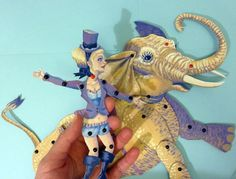 Purple Circus Lady and Yellow Elephant Original Painted Movable Paper Doll Set