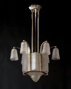 "Marvin Alexander,Inc. Art Deco nickeled bronze & molded glass chandelier by ""Robert"" France, circa 1930"