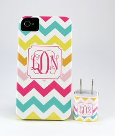 Bright Chevron Monogram iPhone Case | Jenny Bevlin