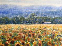 """Field of sunflowers"" by Justine Cadman. Paintings for Sale. Watercolor Sunflower, Watercolour Paintings, Sunflower Fields, Buy Art Online, Australian Artists, List, Paintings For Sale, Online Art Gallery, Sunflowers"