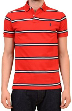 b2c3d7eb8 POLO By RALPH LAUREN Red Striped Cotton Polo Shirt EU 48 NEW S Custom Fit  Red