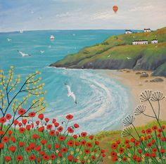 Canvas print of summer seascape with poppies from an original acrylic painting 'The Path to Poppy Bay' by Jo Grundy available in two sizes Landscape Art, Landscape Paintings, Spring Landscape, Canvas Art Prints, Canvas Wall Art, Art Fantaisiste, Guache, Naive Art, Whimsical Art
