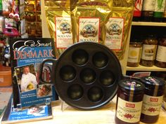 An æbleskiver pan, æbleskiver mix from Chef Arne of Solvang, and 'Eat Smart in Denmark' -- a perfect gift for anyone who loves Danish food!