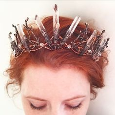 The PERSEPHONE Crown – Clear Raw Crystal Quartz & Copper Branch Twig Antler Coral Crown – Alternative Bride, Festival, Woodland, Fairy Witch - relationships ideas Quartz Clair, Copper Branch, Mermaid Crown, Alternative Bride, Circlet, Tiaras And Crowns, Headdress, Quartz Crystal, Clear Quartz