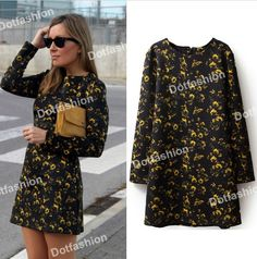 Black long sleeve yellow floral straight dress