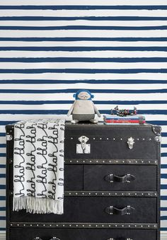 Sissy & Marley Wallpaper | Stripe in Navy by Sissy & Marley | JUST KIDS WALLPAPER™