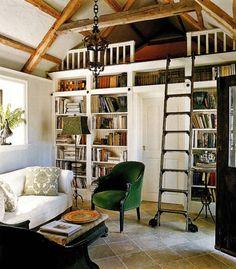 Love the loft/book shelf combo.