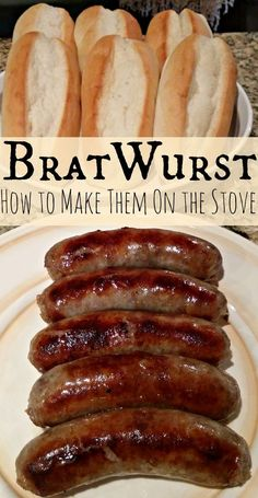 We love to grill great Bratwursts over the BBQ in the summer. However, fall is one of our favorite times to enjoy a great Bratwurst recipe! Since we live in the Pacific NW, that means we often need to cook them indoors, this time of the year. Brats Recipes, Sausage Recipes, Beef Recipes, Cooking Recipes, Bratwurst Recipes Skillet, Cooking Tips, Grilled Bratwurst, Beer Bratwurst, Cooking Quotes